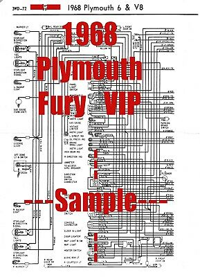 1968 Plymouth Fury VIP Full Car Wiring Diagram *High Quality Printed Copy*  | eBay