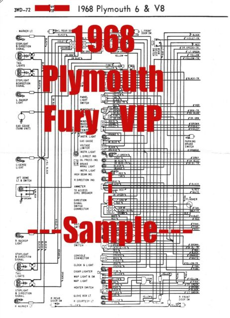 1968 Plymouth Fury Vip Full Car Wiring Diagram  High