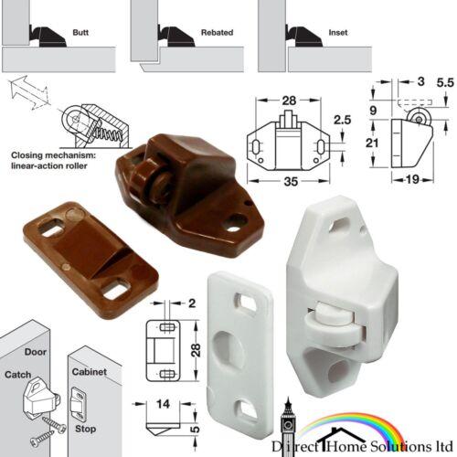 Hafele Plastique Rouleau attrape vis Fix Blanc//Marron Butt//reversé//insert Mount