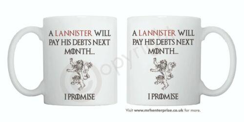 """lo prometo/"""". Juego De Tronos Lannister Taza /'un Lannister pagará sus deudas."""