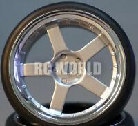 Rc Car 1/10 Drift Wheels Tires Package 3mm Offset Silver W/ Chrome Lip 5 Star