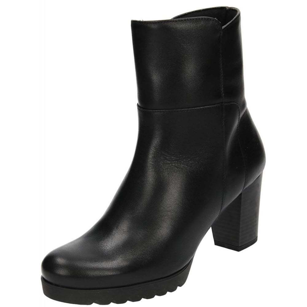 Black Real Leather Block High Heel Platform Ankle Boots shoes Zip Cleated Sole