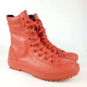 Converse-Chuck-Taylor-All-Star-Women-Size-7-Rubber-Waterproof-Rain-Boot-Red-Zip