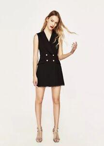 Zara Woman Sleeveless Lace Tuxedo Jumpsuit Shorts Trims Black 7646