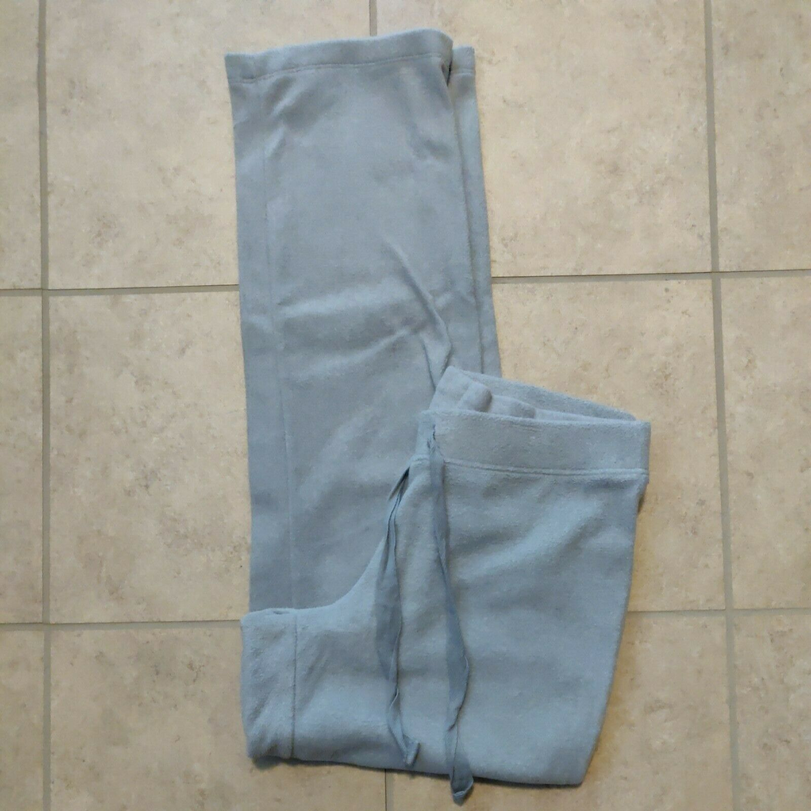 Old Navy women's size S fleece sweatpants light gray pull-on with tie straight