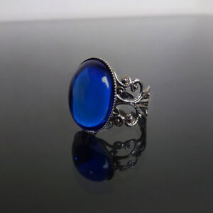Sapphire-blue-gothic-ring-filigree-victorian-steampunk-goth-adjustable-BELLA