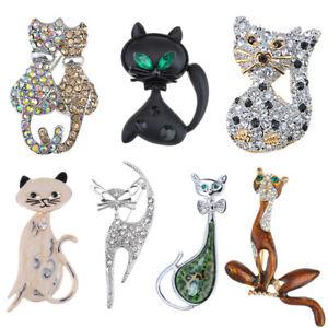 Cute-Enamel-Crystal-Rhinestone-Cat-Animal-Lovely-Pet-Pin-Brooch-Valentine-Gift