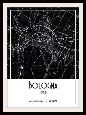 BOLOGNA CITY MAP POSTER PRINT MODERN CONTEMPORARY CITIES TRAVEL IKEA FRAMES
