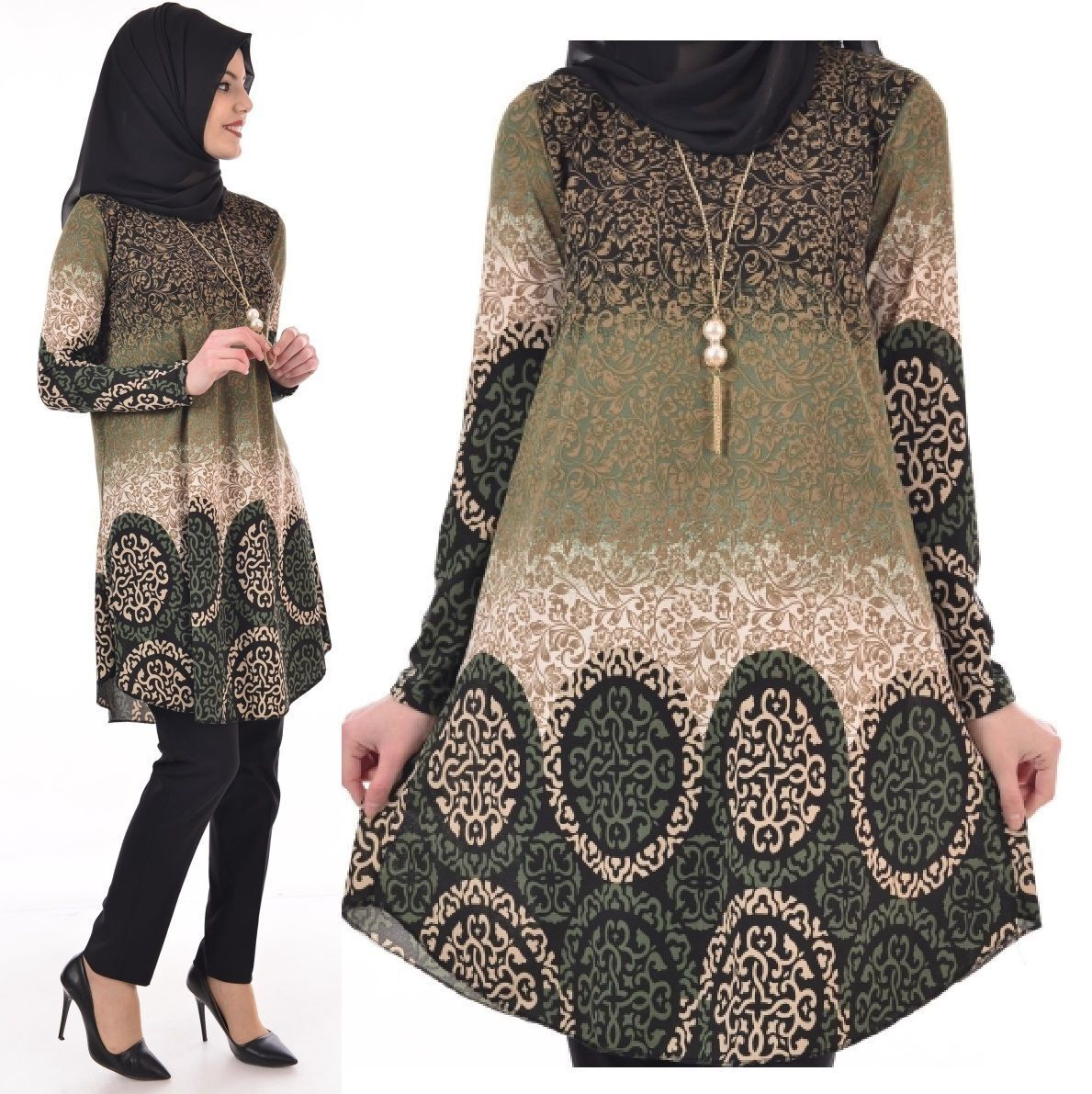 Abaya Islamic Muslim Women Long Sleeve Boho Tunic Top Pink Green M Medium