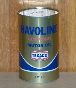 Rare-Canadian-Texaco-gold-HAVOLINE-1-Imp-Qt-motor-oil-tin-can-FREE-SHIPPING
