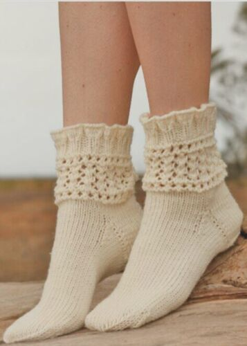 S-M-L Elegant Tracery 100/% Virgin Wool Socks Handmade Soft Lace Gift idea Socken