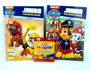 Paw-Patrol-Jumbo-Coloring-Activity-Book-Crayons-Lot-of-2-Rescue-Pups-On-Patrol