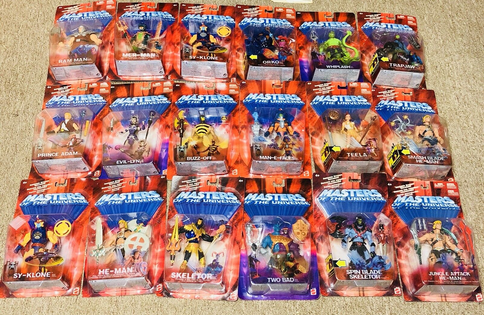 He-Man, Masters of the Universe Figure, lot, set of (18) 1982, 2002, MOC, Rare