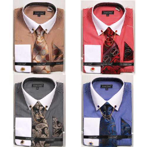 NEW MAN DANIEL ELLISSA Casual Dress Shirt Tie /& Hanky Cuff Links Luxury DN77M
