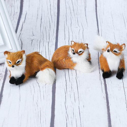 Home Decor Simulation Fur Fox Plush Toys Animal Doll Decoration Brown Gifts New