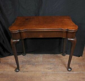 Queen Anne Card Table Antique Mahogany Tables Games Ebay