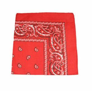 Paisley Bandana 100% Coton écharpe Bandeau Rouge Nouveau-afficher Le Titre D'origine Fabrication Habile