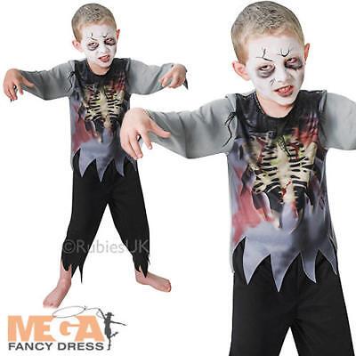 Kids Zombie Costume Boys Halloween Walking Dead Skeleton Childrens Fancy Dress