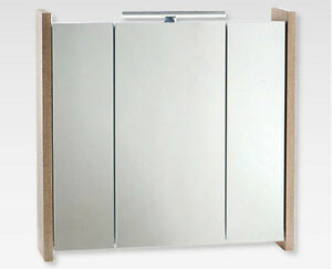 badezimmer spiegelschrank holzoptik san remo mit led