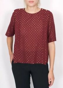 MAISON SCOTCH burgundy red with gold blouse short sleeves - size 38 - cotton top