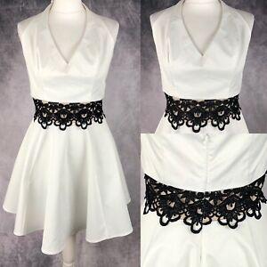 Lipsy-White-Halterneck-Skater-Dress-Black-Lace-Middle-UK-Size-16-Occasion-Party