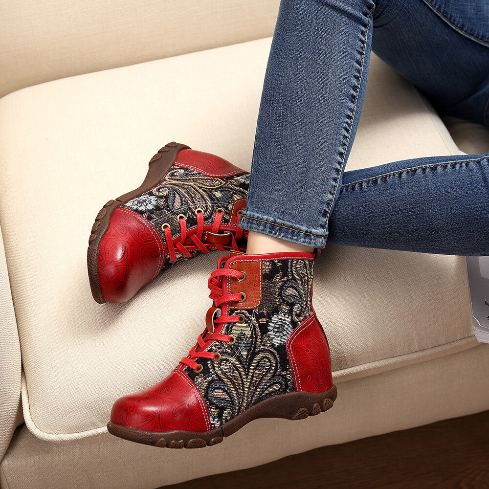 SOCOFY mujer Embroidery Splicing Leather Flats Soft Ankle botas Lace Up zapatos  !