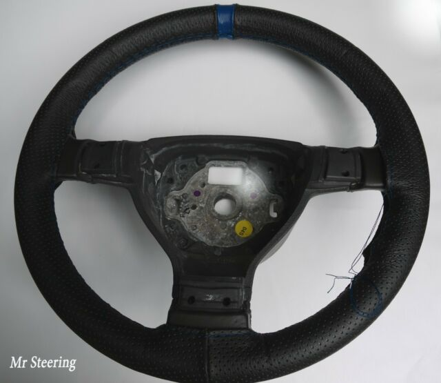 BLACK GENUINE REAL LEATHER STEERING WHEEL COVER BLUE ST FOR FORD RANGER 06