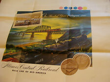 """1951 Printing Sample Poster ILLINOIS CENTRAL RAILROAD 100 YEAR, 25 X 30"""", #3313"""