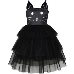 Sunny-Fashion-Girls-Dress-Cat-Face-Black-Tower-Ruffle-Dancing-Party-Size-4-10