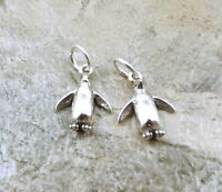 2 Sterling Silver Petite Penguin Charms -1197