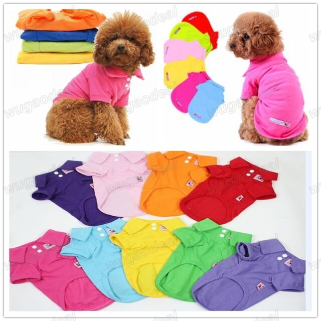 Hot Lovely Pet Dog Clothing Puppy Clothes Apparel Polo T-Shirt 9 Colors XS,S,M,L