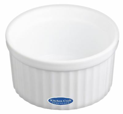 Autres Ingenious Set Of 6 Kitchencraft White Porcelain 9cm Fluted Ramekin To Help Digest Greasy Food Cuisine, Arts De La Table