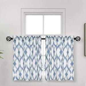 "oremila Tier Curtains for Kitchen Windows Geometric café Curtains 27"" x 36"""
