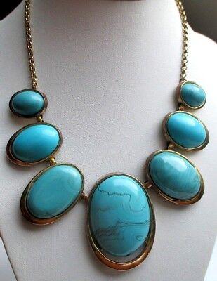 Ingegnoso Original Chaîne Collier Bijou Vintage Couleur Or Cabochons Bleu Turquoise 618 Con Una Reputazione Da Lungo Tempo