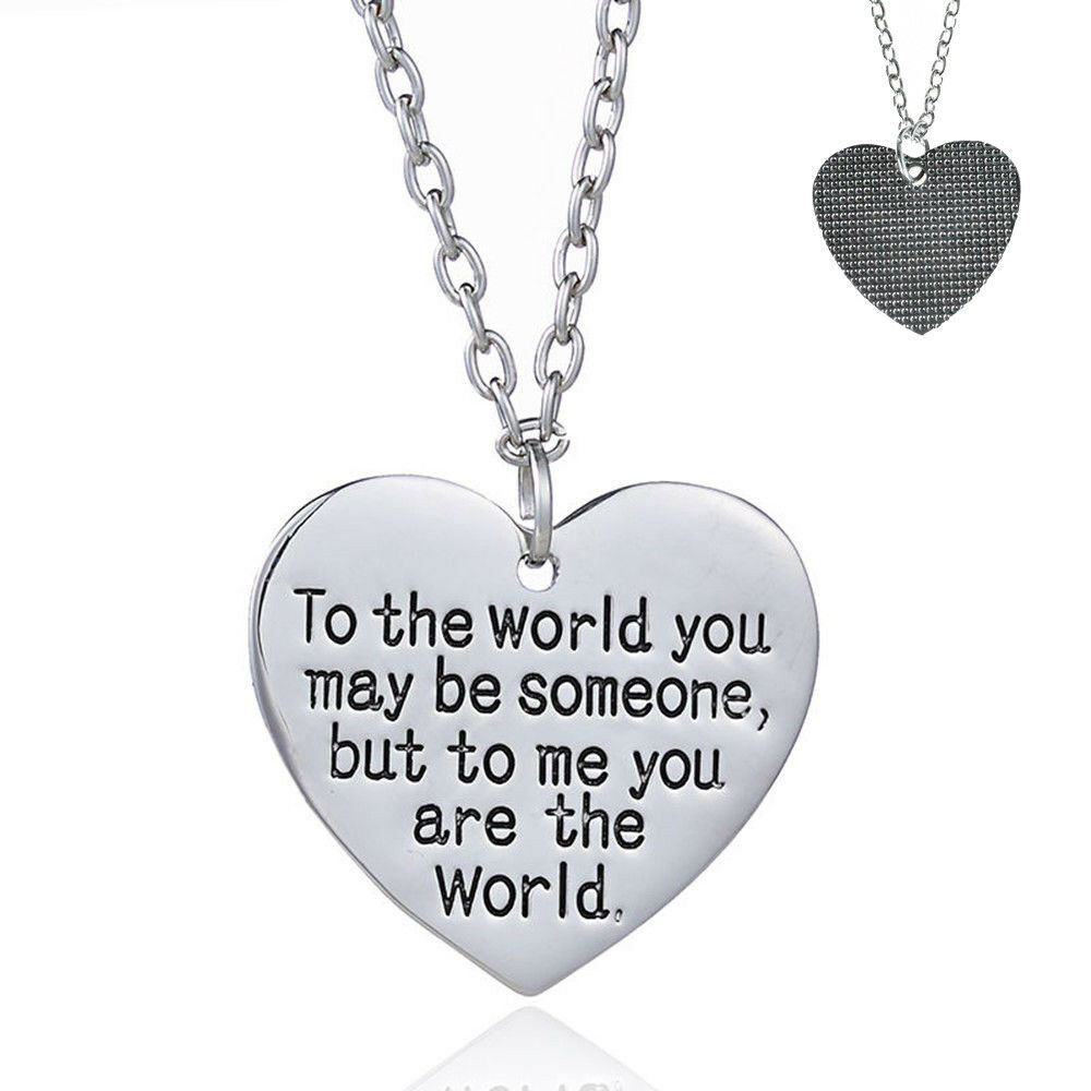 Mother/'s Day Birthday Gift for Mom Wife You are My World Heart Necklace