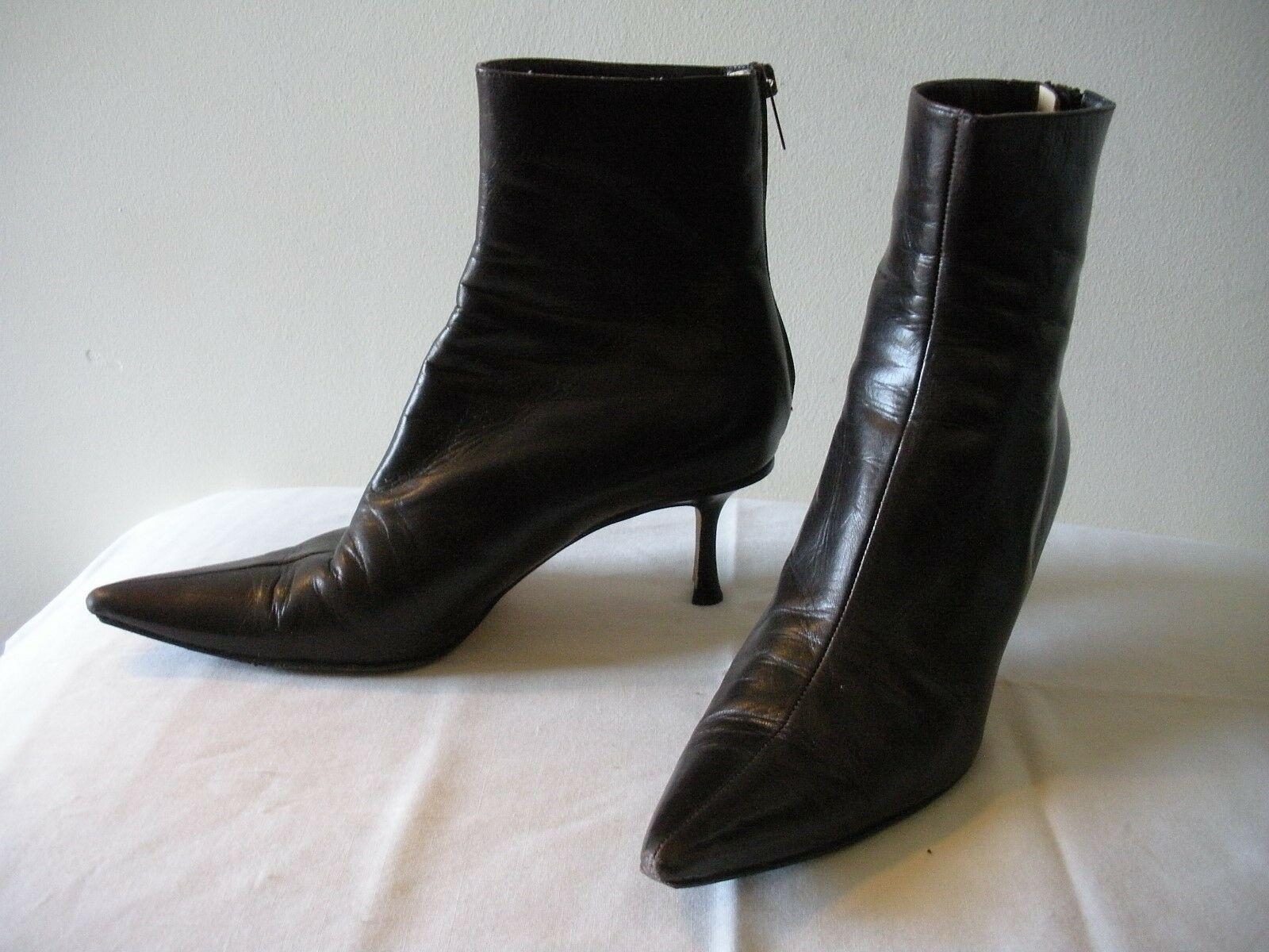 L-O-V-E~!!! 825 JIMMY CHOO Cocoa Brown Leather Boots ITALY  US 7.5M  IT 37.5.