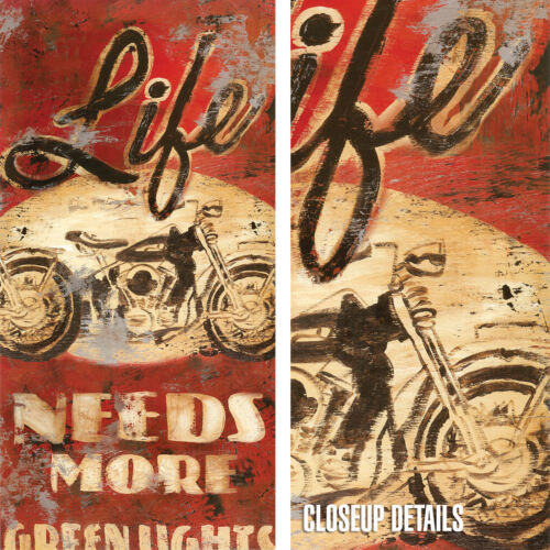 "20W/""x40H/"" LIFE NEEDS MORE GREEN LIGHTS by RODNEY WHITE BIKE CHOICES of CANVAS"