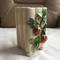 Antique vintage footed strawberry fluted hand painted porcelain spill bud vase
