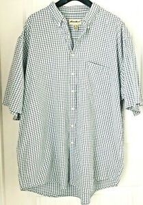 Eddie-Bauer-Men-Sz-XXL-Dress-Shirt-Short-Sleeve-Button-Down-100-Cotton-Career