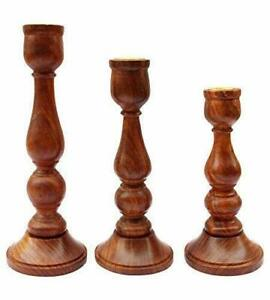 Handmade-Wooden-Candle-Holder-Stand-For-Home-Decoration-A-Set-Of-3