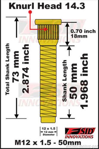 Roda de 50mm de comprimento estendido Tachas Fit Toyota Tacoma L4 m12x1.5 K:14.22mm Ano 2005