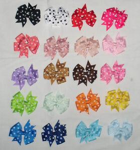 Pince-clip-barette-cheveux-tissu-noeud-a-pois-20-couleurs-differentes-coiffure