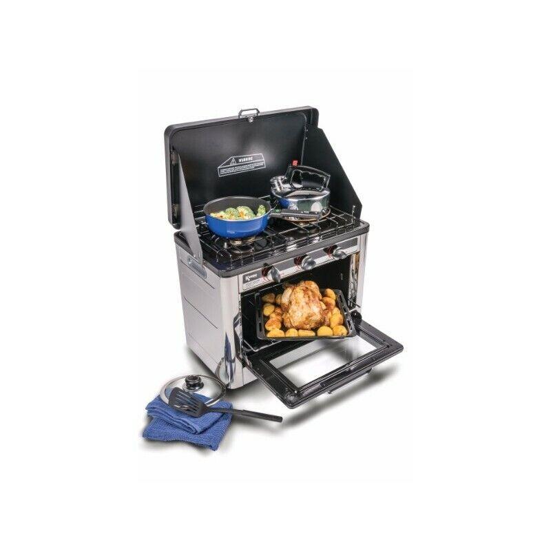 s l1600 - Horno + cocina dos fuegos  de gas portátil Bayasun para camping y aire libre