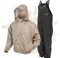 NEW XL  Frog Togs Frogg Toggs Khaki Pro Advantage Rain Suit Jacket and Bibs