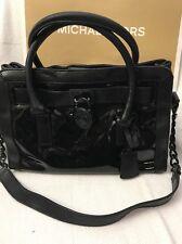 HAMILTON Patent Frame Out Black Leather E/W Satchel Shoulder Bag MSRP$368