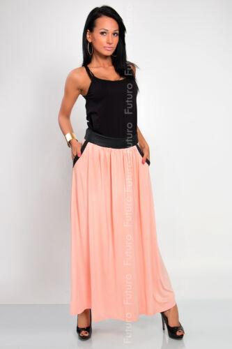 Damen in Voller Länge Rock mit Taschen A-Linie Maxi Rock Zigeuner Size 8-18 8373