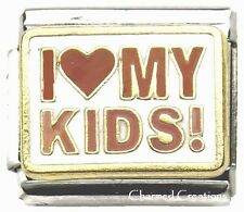 9mm Italian Charm I Love My Kids Heart Stainless Steel Link Son Daughter Family