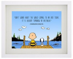 Details about SNOOPY And CHARLIE BROWN Famous Disney Quote - Framed Print