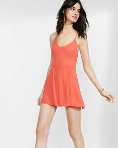 86a736c5347f EXPRESS 12 TAMALE CORAL TIE-BACK CAMI lace-up back ROMPER sleeveless ...