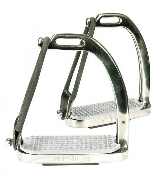 PFIFF Steigbügel mit Seitengummi & Lederschlaufe    Edelstahl  Trittweite 12cm     | Modern  b2c6f8